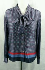 Tommy Hilfiger womens pussybow shirt M navy blue red geometric
