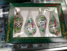 KA) Four Boxed Set Oblong Decorated Christmas Glass Ornaments *New in Box