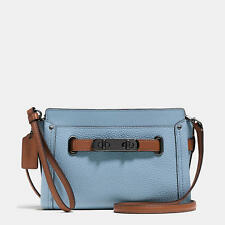 coach 53107 Pebble Leather Colorblock Swagger Crossbody (Cornflower Blue)
