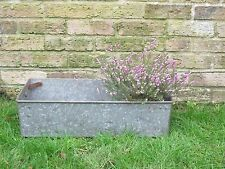 Vintage Industrial Old Galvanised Metal Tub Tray Garden Planter Tote Bin #4690