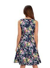 Joe Browns Navy Blue Coloured Floral Jacquard Skater Summer Dress - Size UK 16