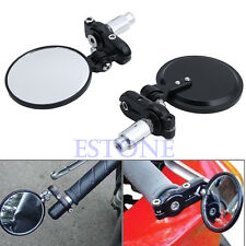 """Universal Motorcycle 3"""" Round 7/8"""" Handle Bar End Rearview Side Mirrors New"""