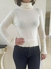 Cristian Dior Cream White Wool Turtleneck Sweater Size USA 6, F 38, GB 10, D 36
