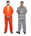 MENS PRISONER CONVICT COSTUME HALLOWEEN FANCY DRESS STAG PARTY OVERALL JUMPSUIT