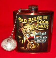 Old Bikes and Good Whiskey Both Get Better With Age Stainless Steel Flask - New!