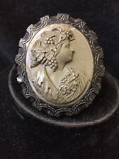 Antique Victorian lava cameo Of Women' carved In Jet Frame 6/5.5cm