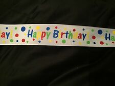 3 Metres Wire Edged 1.5in Happy Birthday Dotty Ribbon Floral Cakes Crafts