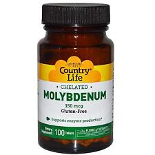 Country Life, Gluten Free, Chelated Molybdenum, 150 mcg, 100 Tablets