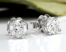 .70Ct Natural Diamond 14k Solid White Gold Stud Earrings