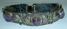 Early TAXCO Fine 980 Sterling Silver Bracelet Repousse Panel Amethyst Cabochon