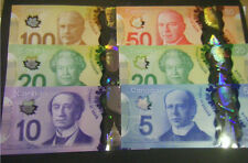 Canada GEM $100 $50 $20 $20 $10 $5 Polymer Bank Notes Complete Set uncirculated