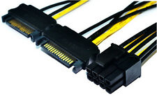 Dual 15Pin SATA Male to PCIe 8-Pin Male Power Cable 2*SATA 15pin to 8pin(6+2)