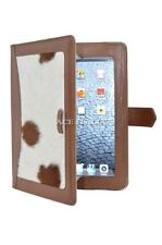 iPAD 2 3 & 4 Tan Cow Skin Fur Luxury Real Genuine Leather Cover Case Stand