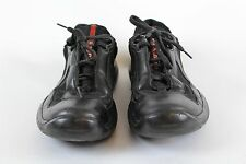 Prada Men's Black Leather Sneakers Shoes Flats Size 8