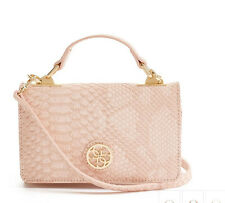 NWT GUESS Cyndy Mini Crossbody Phone case Handbag Purse Phyton embossed Pink
