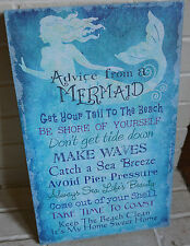 ADVICE FROM A MERMAID Coastal Blue Seaside Beach Canvas Wall Home Decor Sign NEW