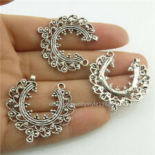 18465 14PCS Tibetan Vintage Silver Alloy Hollow Moon Filigree Pendant Connector