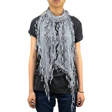 Lace Scarf Long Tree Leaves Fringe Tassel Sheer Tear Drop Embroidery Solid Color