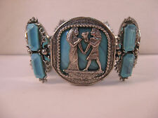 Egyptian Revival Panel Link Wide Chunky Blue Thermoset Silver Bracelet~7 Inch
