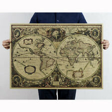 Vintage Compass Map Print Voyage Map Kraft Paper Antique Poster Wall Decor DIY