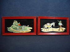 Vintage Paintings on Glass Set 2 Man Woman Donkey Red Frame Black Background
