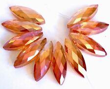 22x7mm Brilliant Orange AB Glass Quartz Faceted Marquise Drop Beads (10)