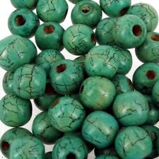 50 x GREEN CRACKLE ROUND 12 x 11mm WOODEN BEADS Jewllery W188