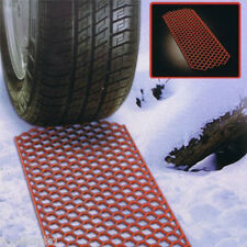 Pair of winter car wheel grabber traction mats for escaping snow mud soft ground