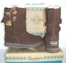 SKECHERS AUSTRALIA Women CHOCOLATE Suede Button Mid Calf Faux Fur Boot  6 M $80
