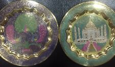 Vintage minakaari Antique 2 Pairs Brass Wall Hanging Plates Made in India 5.5''