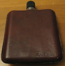 """Brookstone Brown Leather Drinking Flask bottle Made in Germany 5.5"""" X 4"""" alcohol"""