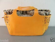 FRANCESCO BIASIA RUST ORANGE HANDBAG BUCKET PURSE GENUINE LEATHER BAG SATCHEL NR