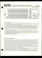 Original Factory Rane GE 60 Graphic Equalizer Owner's/Service Manual