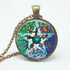 Vintage Tree of Life pentagram Cabochon Bronze Glass Chain Pendant Necklace