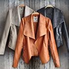 Women Lady Punk Slim Biker Motorcycle Short Jacket Lapel PU Leather Coat Outwear