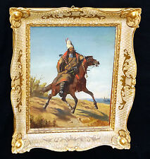 "1910s Middle Eastern/Mongolian Oil Painting ""Tribesman on a Horse"" by Graf (Ber)"