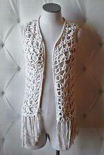 Vtg 70s Sears Jr Bazaar Made in Italy Cotton Crochet Fringed Vest Festival Boho