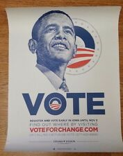 Vote for Change Barack Obama 2008 Iowa Only Poster Vote Early - Obama Biden