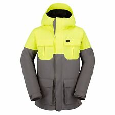 2017 NWT MENS VOLCOM ALTERNATE INSULATED SNOWBOARD JACKET $190 L grey yellow