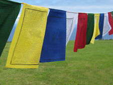 High Quality Lung-Ta ~ TIBETAN PRAYER FLAGS ~ 5 large flag string, bright cotton