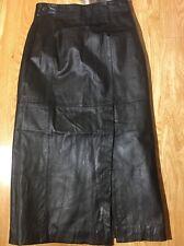 Vintage 80's Wilsons Leather Color Black Size 8 Pencil Skirt W/ Front-side Slit