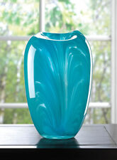 "TURQUOISE MODERN GLASS VASE DECOR 9"" TALL NEW~10016185"