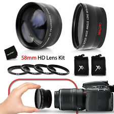 58mm Wide Angle + 2x Telephoto Lenses f/ CANON EOS 70D 60D 7D 6D 5D 8000D