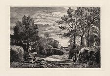 """John CONSTABLE Antique 1800s Etching """"A Hot Day by the Creek"""" FRAMED COA"""