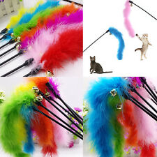 Funny Teaser Feather Wire Chaser Pet Toy Wand Beads Play Activity For Kitten Pet