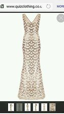 Quiz champagne nude Scallop sequin fishtail dress sz 12 RRP  £79