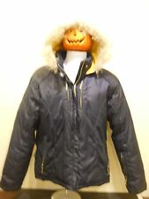 Baby Phat Juniors Womens Down Puffer Coat Attached Fur Trimmed Hood Size XL