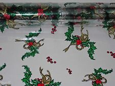 "1 Roll 20"" x 100' Holly / Gold  Christmas Designs Clear Cellophane Gift Wrap"