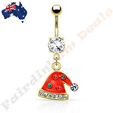 Jewelled Gold Ion Plated Belly Ring with Gemmed Christmas Santa Hat Dangle