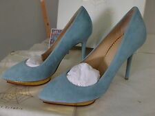 Charlotte Olympia Debbie Heart Platform Suede Gold Calf Shoes Heels Size 38 US 8